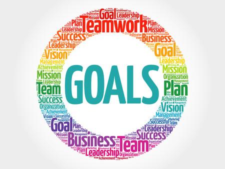 목표는 단어 구름, 비즈니스 개념을 동그라미