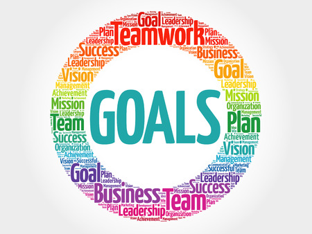 Obiettivi cerchio cloud parola, concetto di business Vettoriali