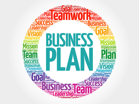 Business Plan circle word cloud, business concept Illustration