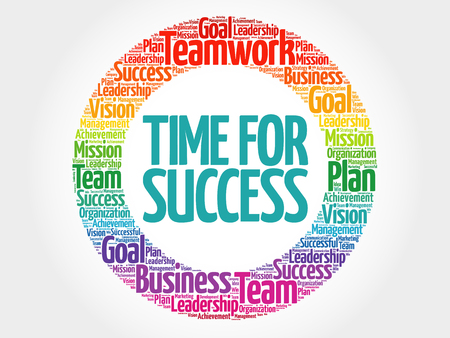 Time for Success circle word cloud, business concept