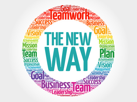The New Way circle word cloud, business concept