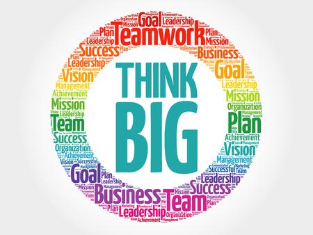생각 큰 서클 단어 구름, 비즈니스 개념