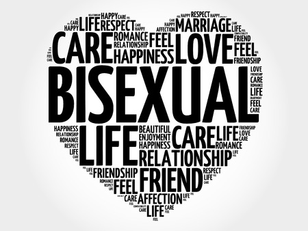 bisexuality: Bisexual word cloud collage, heart concept background Illustration