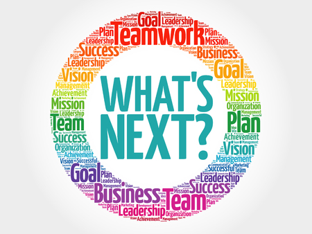 What's Next circle word cloud, business concept Ilustração