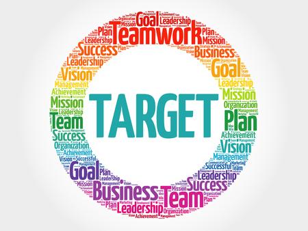 Target circle word cloud, business concept