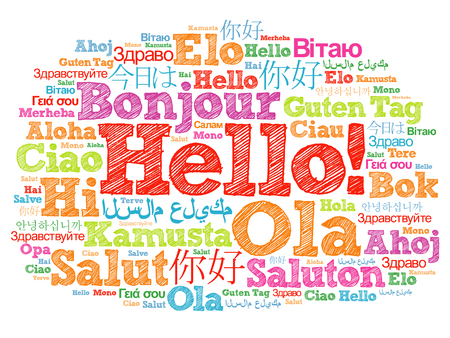 Hello word cloud in different languages of the world, background concept Stockfoto