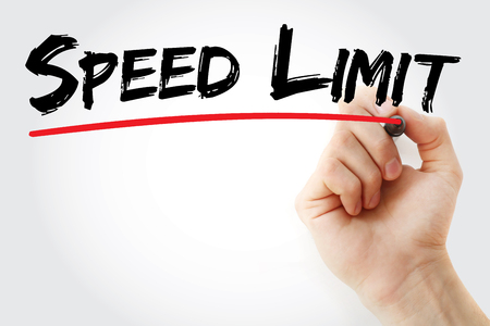 Hand writing Speed limit with marker, concept background