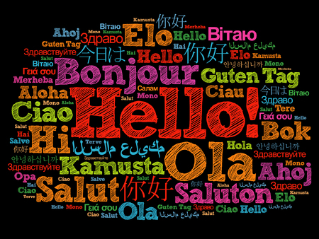 Hello word cloud in different languages of the world, background concept Stock Photo