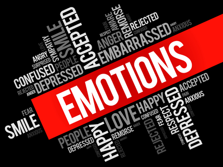 Emotions word cloud collage, social concept background Illustration