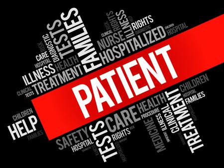 Patient word cloud collage, health concept background Vektorové ilustrace