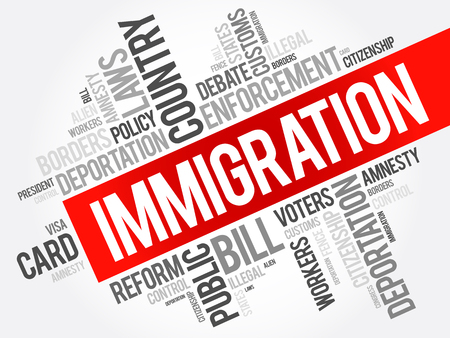 Immigration word cloud collage , social concept background