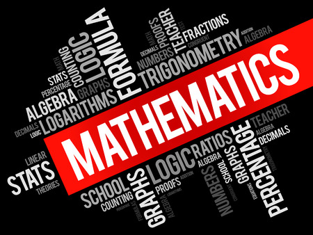 Matemáticas palabra nube collage, concepto de educación de fondo