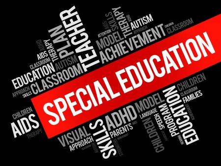 Special Education woord wolk collage, onderwijs concept achtergrond