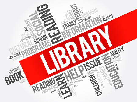 word: Library word cloud collage, education concept background