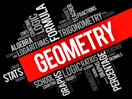 multiplication: Geometry word cloud collage, education concept background