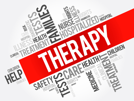 outpatient: Therapy word cloud collage, health concept background Illustration