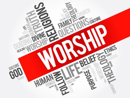 礼拝単語雲コラージュ、社会的概念の背景  イラスト・ベクター素材