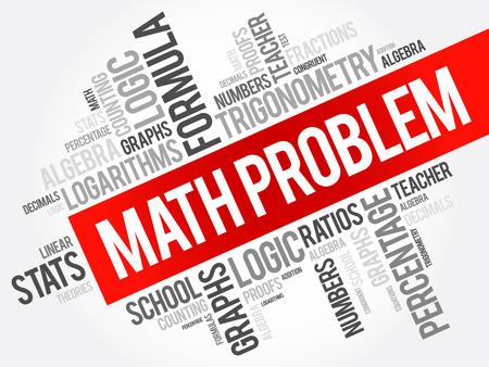 Math problem word cloud collage, education concept background