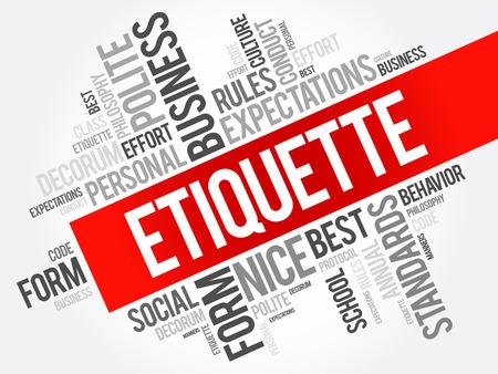 Etiquette word cloud collage, social business concept on blackboard