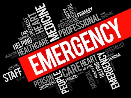 Collage de nubes de palabra de emergencia, fondo del concepto de salud Ilustración de vector