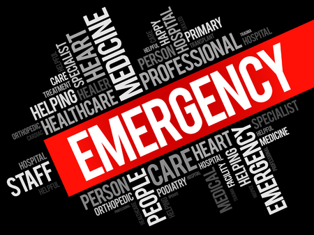 disaster preparedness: Emergency word cloud collage, healthcare concept background Illustration