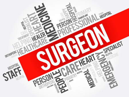Surgeon word cloud collage, healthcare concept background