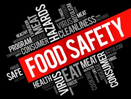 Voedselveiligheid woord cloud collage, concept achtergrond Stock Illustratie