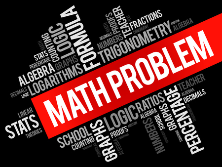 Math problem word cloud collage, education concept background
