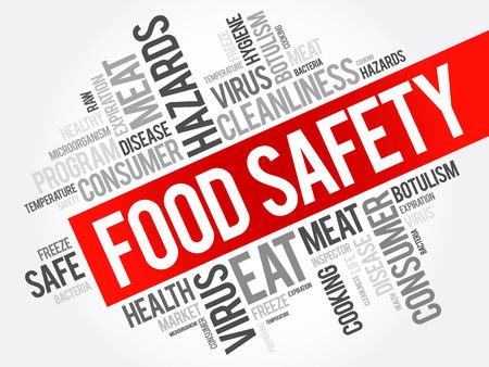 La seguridad de los alimentos palabra collage de la nube, el concepto de fondo