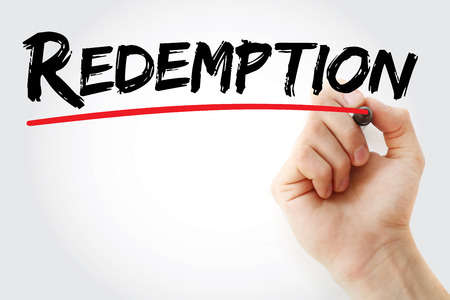 redemption: Hand writing Redemption with marker, concept background Stock Photo