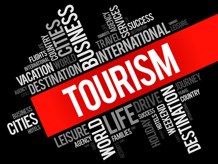Tourism word cloud collage, travel concept background Illustration