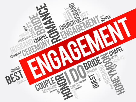 Engagement word cloud collage, concept background