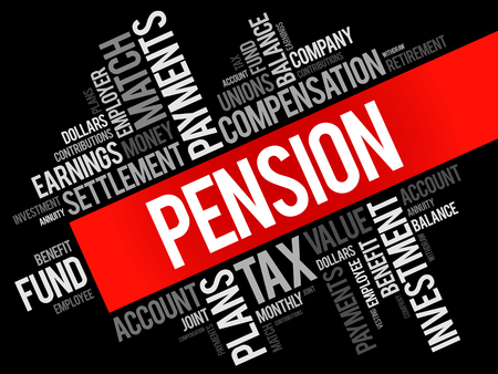 vesting: Pension word cloud collage, social concept background