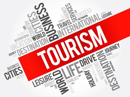 Tourism word cloud collage, travel concept background Illustration