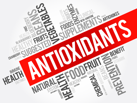 Antioxidants word cloud collage, health concept background