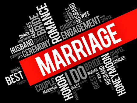 liking: Marriage word cloud collage, concept background