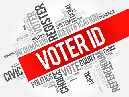 presidential: Voter ID word cloud collage , social concept background Illustration