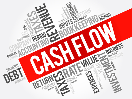 Cash Flow word cloud collage, business concept background 向量圖像
