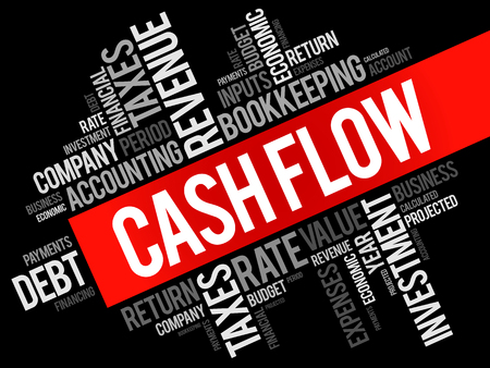 Cash Flow word cloud collage, business concept background Illustration