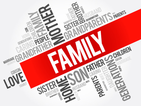 Family word cloud collage , social concept background Ilustração