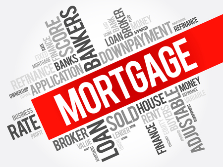 underwriter: Mortgage word cloud collage, business concept background Illustration
