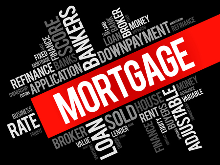 Mortgage word cloud collage, business concept background Illustration
