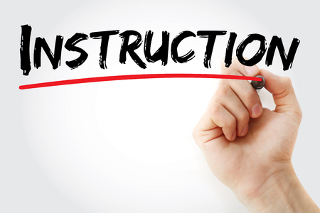 Hand writing Instruction with marker, concept background Stock Photo