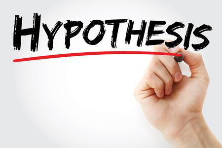 Handschrift Hypothese met marker, concept achtergrond