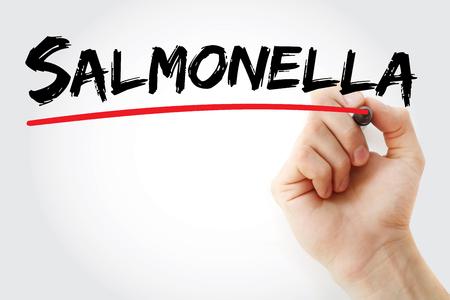 salmonella: Hand writing Salmonella with marker, concept background Stock Photo