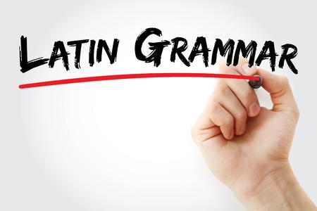 semantics: Hand writing Latin grammar with marker, concept background Stock Photo
