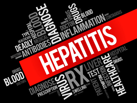 contagious: Hepatitis word cloud collage, health concept background Illustration