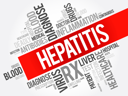 Hepatitis word cloud collage, health concept background Illustration