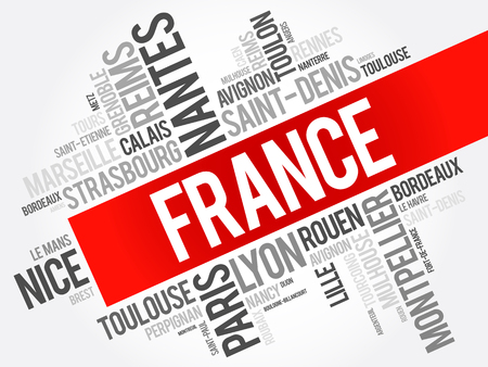 keyword: List of cities and towns in France, word cloud collage, travel concept background