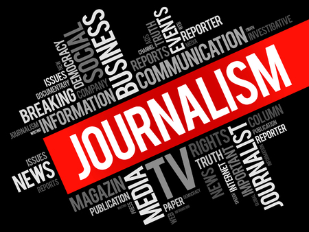 features: Journalism word cloud collage , social concept background Illustration